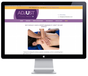 An adjustable website for leading Nottingham sports massage practitioner
